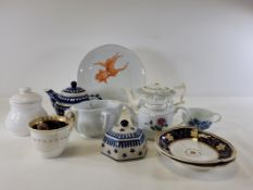 An assortment of predominantly 19th Century ceramics to include a German Meissen porcelain cup