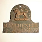 The Manchester Fire Office Fire Mark, 1771-1788, W14A, lead, policy no. 2509, F, overpainted, some
