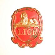Lion Fire Insurance Company Fire Mark, 1879-1902, W114A, copper, G, some original paint
