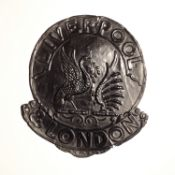 Liverpool and London Fire and Life Insurance Company Fire Mark, 1847-1864, W96A, copper, F-G