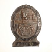 Hertfordshire Cambridgeshire and Country Fire Office Fire Mark, 1824-1831, W67A, copper, F-G,