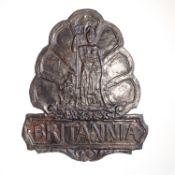 Britannia Fire Association Fire Mark, 1868-1879, W108A, copper, F