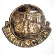 Birmingham Fire Office Company Fire Marks, 1805-1867, W42B, copper, F-G, some original paint and