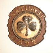 National Assurance Company of Ireland Fire Marks, 1822-1904, tinned iron - W59A, F, original paint