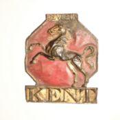 Kent Insurance Company Fire Mark, 1802-1901, W36C, copper, F-G, some original paint