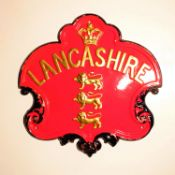 Lancashire Insurance Company Fire Mark, 1852-1901, W98A, copper, G-VG, some scuffing to scrolls,