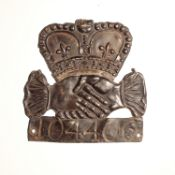 Hand in Hand Fire Office Fire Mark 1696-1905, W2C(iv), lead, policy no. 104406, F-G, cross missing