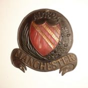 Manchester Fire and Life Assurance Company Fire Marks, 1824-1904, W71C, copper, F, on wooden