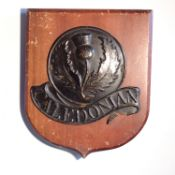 Caledonian Insurance Company Fire Mark, 1805-1957, W43A, copper, G, mounted on panel