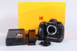 A Kodak DCS ProSLR n DSLR Camera Body, Nikon F mount, serial no 21576, powers up, LED displays