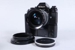 A Nikon F3 SLR Camera, black, serial no 1274049, shutter working, meter working, self timer working,