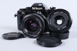 A Nikon FA SLR Camera, black, serial no 5312096, shutter working, meter responsive, self timer