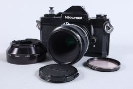 A Nikon Nikkormat FT2 SLR Camera, black, serial no 5182828, shutter sticking on one and one half