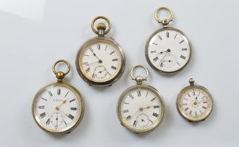 Five miscellaneous open faced fob watches, in brass, gun metal and white metal cases, all with white