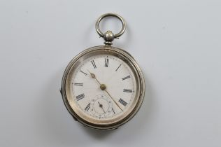 A Victorian silver open faced fob watch, white enamel dial, seconds subsidiary, Birmingham 1876, 5.