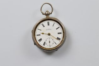 A George V silver open faced fob watch by H Samuel, white enamel dial, roman numerals, seconds