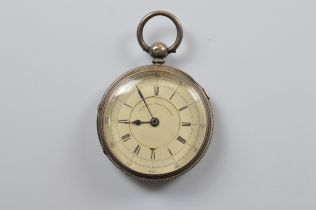 A Victorian Improved Chronograph fob watch, with white face, Arabic and roman numerals, missing back