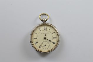An Edwardian silver open faced pocket watch, with Waltham movement, white enamel dial, roman