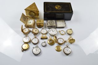 A collection of silver plated, gilt metal gentleman's, lady's and automobile fob watches including a