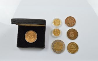 A small collection of commemorative American medallions, including the National Bicentennial