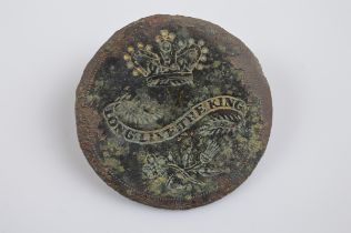 A George III 'Long Live the King' 1789 commemorative button, of circular design with impressed crown