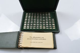 John Pinches cased set The Hundred Greatest Cars in silver, four missing with associated catalogue