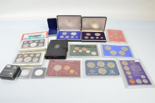 A collection of cased commemorative British Commonwealth and World Coin sets, including New