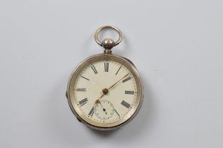 A continental open faced white metal fob watch, circa 1900, white face, roman numerals, 5cm