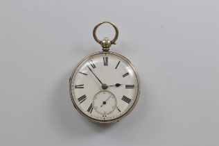 A Victorian silver open faced fob watch, by H Cooper of Worcester, white enamel face, seconds
