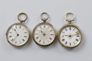 Three continental lady's open faced fob watches, two with glass fronts, the other missing glass