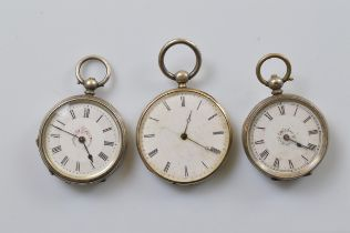 Three continental lady's open faced fob watches, all with white enamel dials, roman numerals, some