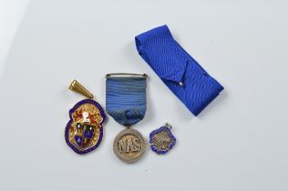 Three silver medallions, for The National Association of School Masters, The Institute of Building