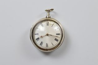 A George III silver pair cased fob watch by William Morgan, London 1808, white enamel face, roman