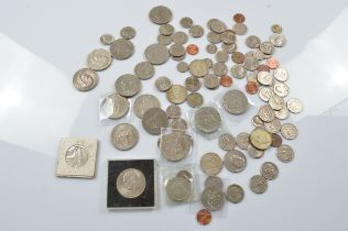A collection of American circulated coinage, including a quantity of 1970s Eisenhower dollars,