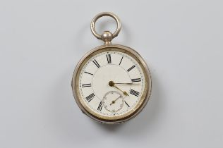 A Victorian open faced fob watch, white enamel dial, roman numerals, seconds subsidiary dial,