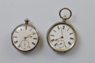 A Victorian silver open faced fob watch, white enamel face, roman numerals, seconds subsidiary, 4.