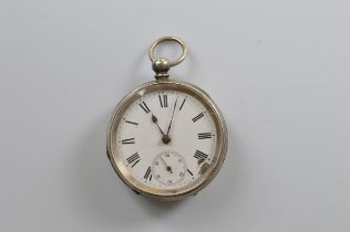 A continental white metal open faced fob watch, white enamel face, seconds subsidiary, 5cm diameter,