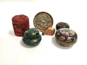 A Chinese cloisonné enamel covered pot with a central design of three conjoined fruits, diameter