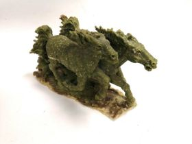 A Chinese hardstone figure of galloping horses, height 22cm, length 38cm, together with a stand (2)