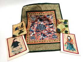A Chinese Peking knot pillow case with a design of ornaments and flower heads, 43cm x 38cm, together