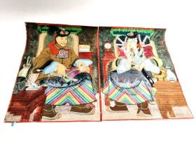 A pair of Mongolian gouache paintings on fabric, one male one female, handling decorative objects,