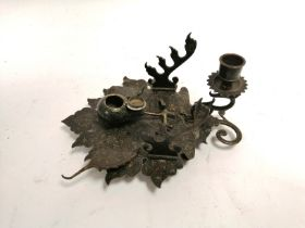 An Indian desk stand and inkwell in the form of a leaf, with profuse foliate decoration, 11cm x