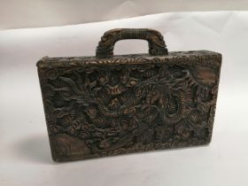 A 'Tsung Shung Chong' cased secret compartment mah jong set, with a design of dragons and mythical