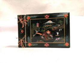 An early 20th Century black lacquer bound photograph album, with a waterside and mountain scene,
