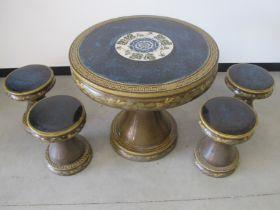 A 20th Century oriental stone ware and celadon polychrome garden set, comprising of circular