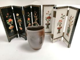 Two Asian table top screens, with inset samples of stone and mother of pearl, height 36.5cm,