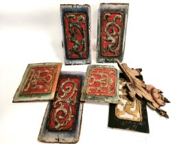 A group of Asian polychrome wooden panels, the largest 36cm x 15cm (group)