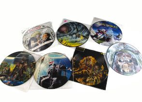 """Iron Maiden 12"""" Picture Discs, seven UK Release 12"""" Picture Disc Singles comprising Run To The"""