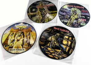 Iron Maiden Picture Discs, four Picture Disc albums comprising Iron Maiden, Killers, Piece of Mind