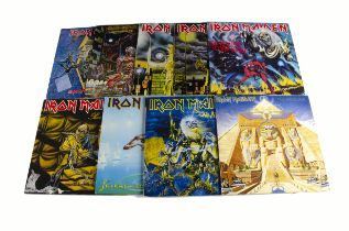 Iron Maiden LPs, nine UK release albums comprising Iron Maiden (Fame issue), Killers, Number of